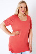 Yours Clothing Coral T-Shirt With Ruched Short Sleeves