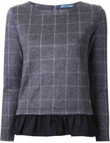 GUILD PRIME pleated hem checked sweater