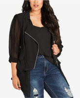 City Chic Trendy Plus Size Chiffon-Trim Moto Jacket