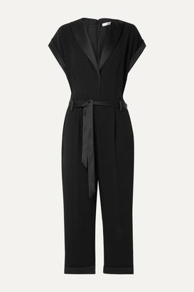 Frame Tux Belted Satin-trimmed Crepe Jumpsuit - Black