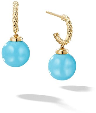 David Yurman 18kt yellow gold Solari turquoise drop hoop earrings