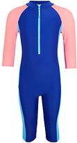 John Lewis Girls' Colour Block SunPro Swimsuit, Royal Blue/Multi
