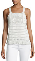 Joie Zaylee Crochet Sleeveless Fringe-Hem Top, White