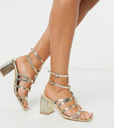 Public Desire Wide Fit block heeled sandal in gold snake metallic