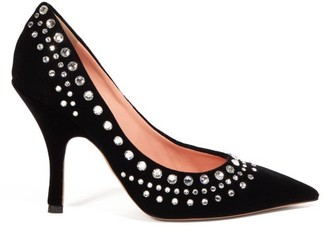 Rochas Crystal-embellished Velvet Pumps - Black