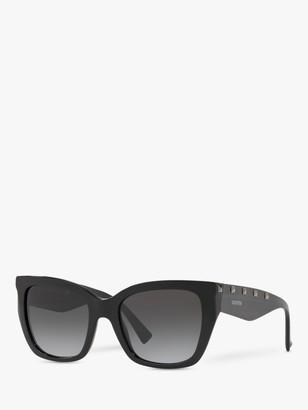 Valentino VA4048 Women's Studded Cat's Eye Sunglasses, Black/Black Gradient