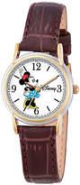 Disney Princess Disney Minnie Mouse Womens Brown Leather Strap Watch-W000552