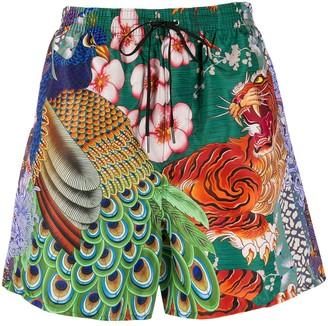 DSQUARED2 Peacock print swim shorts