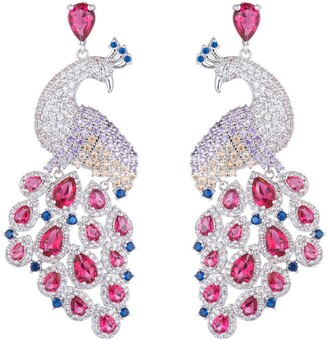 Eye Candy Los Angeles Pink Peacock CZ Crystal Drop Earrings