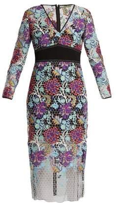 Diane von Furstenberg V-neck Floral-lace Dress - Womens - Blue Multi