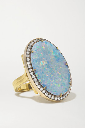 Sylva & Cie 18-karat Yellow And White Gold, Opal And Diamond Ring - 7 1/4