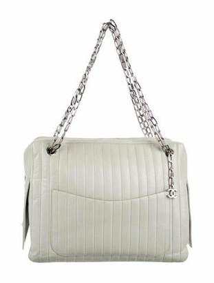 Chanel Vertical Quilt Bowler Bag Grey
