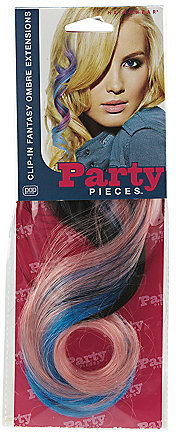 Hair U Wear Clip-In Fantasy Ombre Hair Extensions Brunette/Pink/Blue