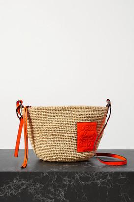 Loewe + Paula's Ibiza Pochette Leather-trimmed Woven Raffia Shoulder Bag - Orange
