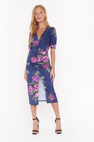 Nasty Gal Womens Make the Best of a Bud Situation Floral Midi Dress - black - 4, Black