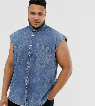 Asos DESIGN Plus oversized sleeveless denim shirt in acid wash