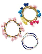 BaubleBar Indy Tassel Stretch Bracelets, Set of 3