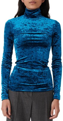 Maje Turtleneck Velvet T-Shirt