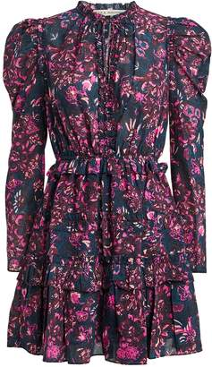 Ulla Johnson Prissa Tie Neck Floral Dress