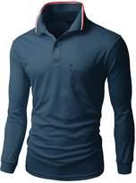 Xpril Men's Coolon fabric long sleeve pocket point Polo T shirts size M