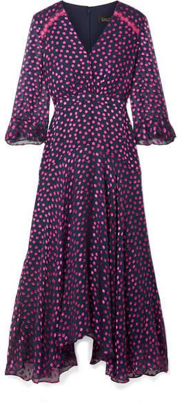 Saloni Edith Polka-dot Flocked Silk-blend Chiffon Midi Dress - Plum