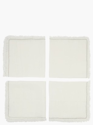 Brunello Cucinelli Set Of Four Monili-chain Linen Napkins - White
