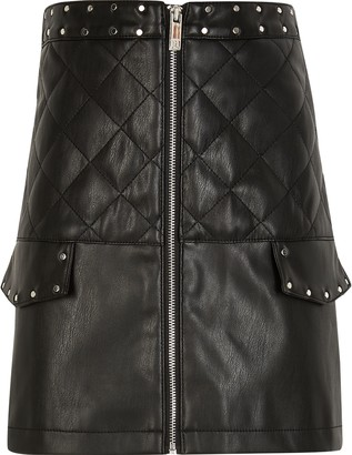River Island Girls Black faux leather quilted pocket skirt