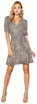 Lavender Brown Mini Cheetah Printed Short Sleeve Wrap Dress (Taupe/Brown) Women's Clothing