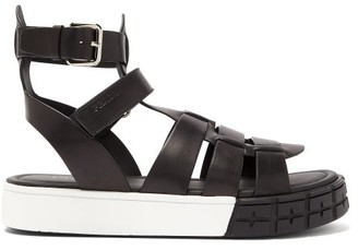 Prada Tyre-sole Leather Sandals - Mens - Black White
