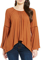 Copper Key Solid Bell-Sleeve Sharkbite Hem Blouse