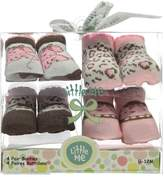 "Little Me Baby Girls' ""Little Leopard"" 4-Pack Booties"