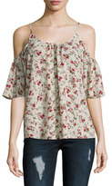 French Connection Polly Plains Printed Cold Shoulder Blouse