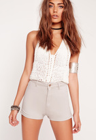 Missguided High Waisted Denim Shorts Nude