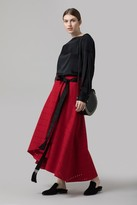 Amanda Wakeley Red Punched Wool Skirt