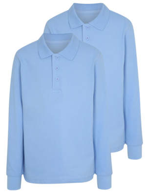 George Boys Light Blue Long Sleeve School Polo Shirt 2 Pack