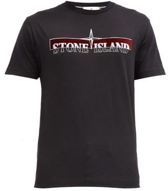 Stone Island Logo-embroidered Cotton T-shirt - Black