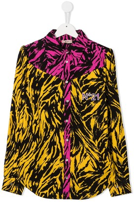No21 Kids TEEN two-tone zebra print shirt