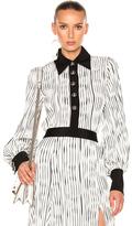 Prabal Gurung Wavy Rib Jersey Polo Blouse in Black,Stripes,White.