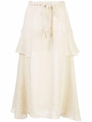 Lisa Marie Fernandez High Waisted Linen Ruffle Skirt