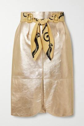 Lanvin - Belted Embellished Metallic Leather Skirt - Gold