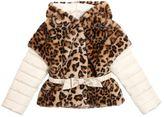 MonnaLisa Leopard Printed Faux Fur & Nylon Jacket