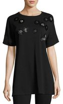 Joan Vass Short-Sleeve Tunic w/ Paillette Flowers, Black, Petite