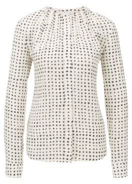 HUGO BOSS Pure-silk blouse with dot print and gathered neckline