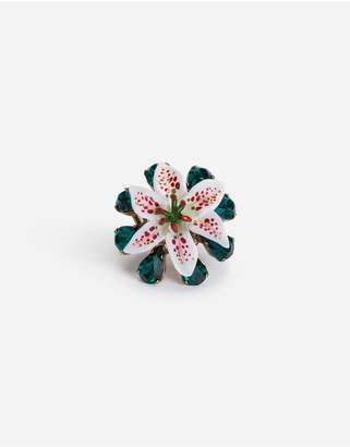 Dolce & Gabbana Ring With Rhinestones And Resin Lily Embellishment