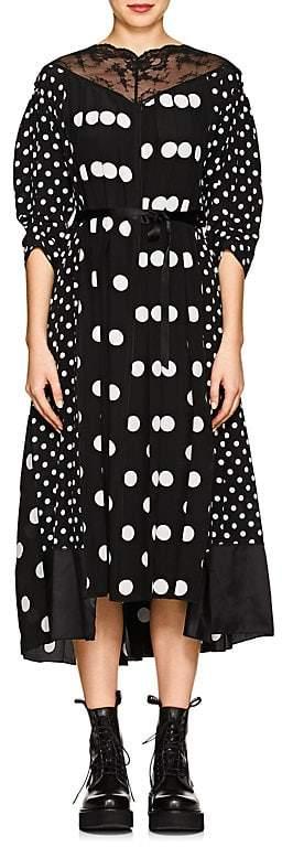 Marc Jacobs Women's Lace-Trimmed Polka Dot Silk Midi-Dress