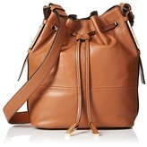 French Connection Women's Danny Leather Drawstring, Nutmeg/Black