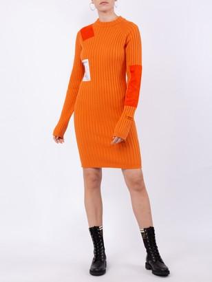 Heron Preston Orange Patch Ribbed Dress