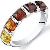 Ice Multi-Color Amber Polished Sterling Silver Fashion Ring