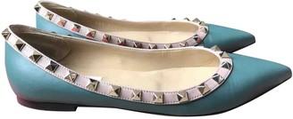 Valentino Rockstud Turquoise Leather Ballet flats