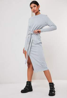 Missguided Light Grey Tie Front Midi Sweater Dress